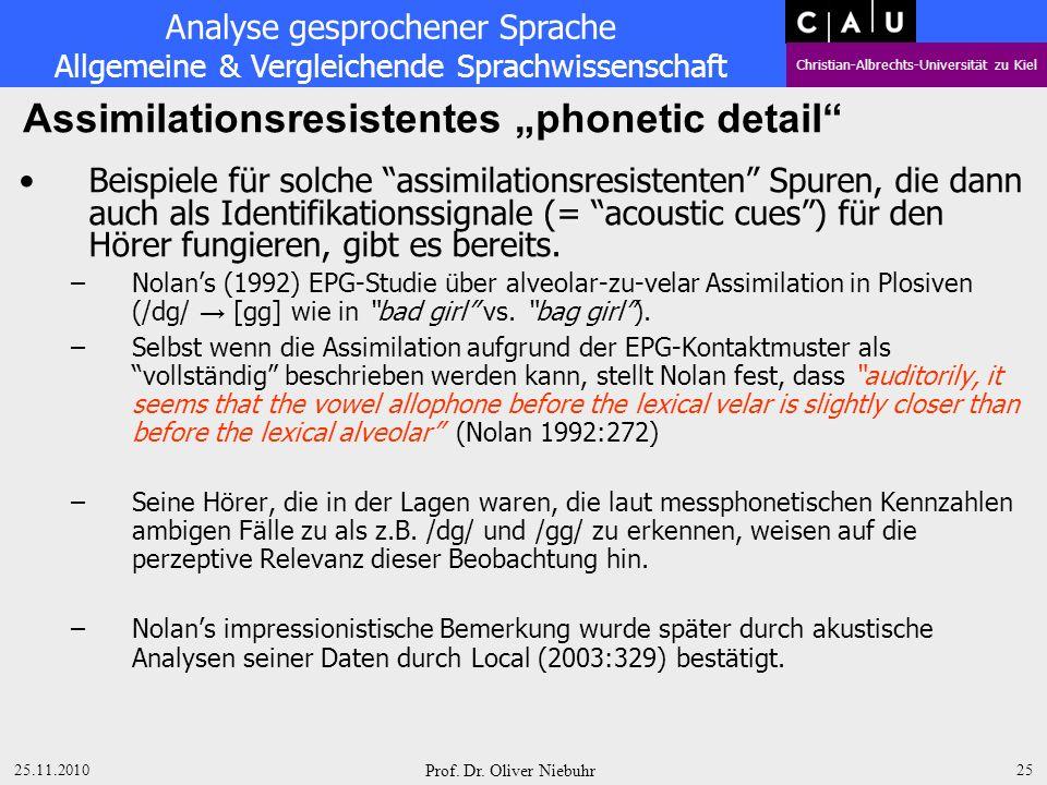 Analyse gesprochener Sprache Allgemeine & Vergleichende Sprachwissenschaft Christian-Albrechts-Universität zu Kiel 25.11.2010 Prof. Dr. Oliver Niebuhr