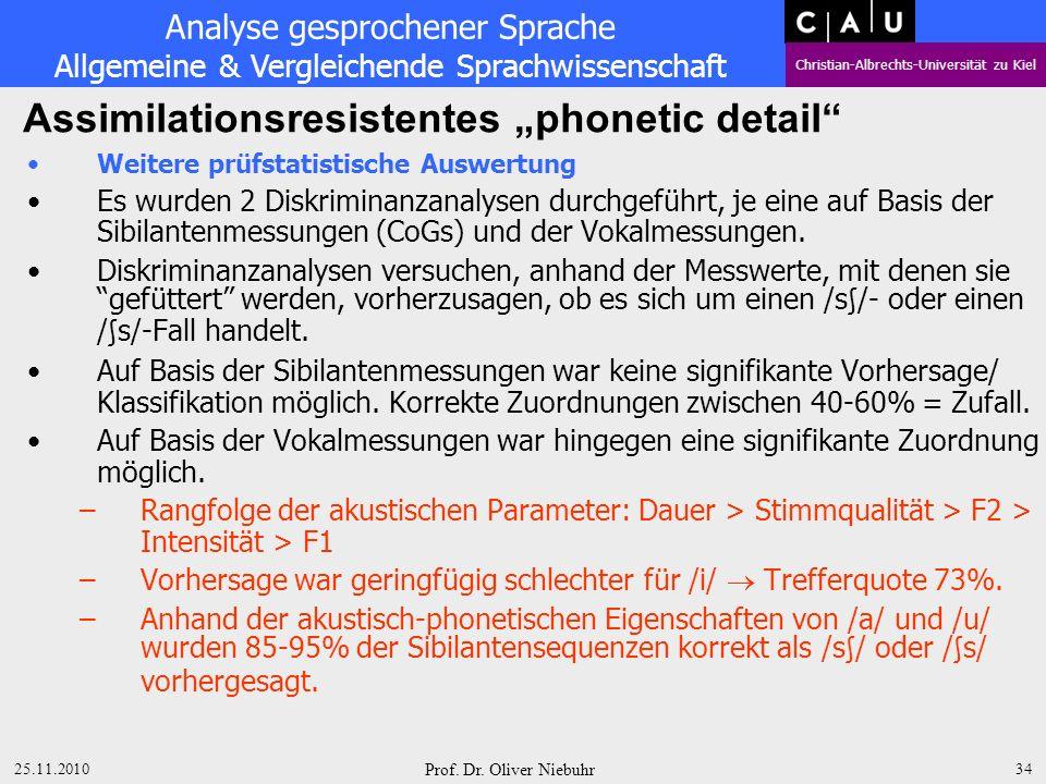 Analyse gesprochener Sprache Allgemeine & Vergleichende Sprachwissenschaft Christian-Albrechts-Universität zu Kiel 25.11.2010 Prof.