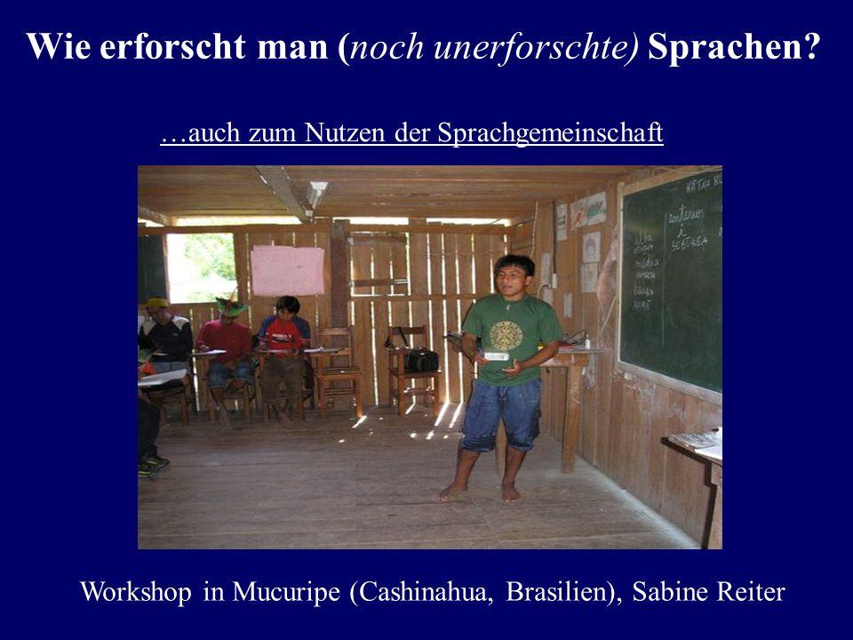 Verstehen und analysieren… Wie erforscht man (noch unerforschte) Sprachen? Lotuko (Sudan; Kroeger 2005:7ff.) : (1)idulakatuloemaThe man is planting gr