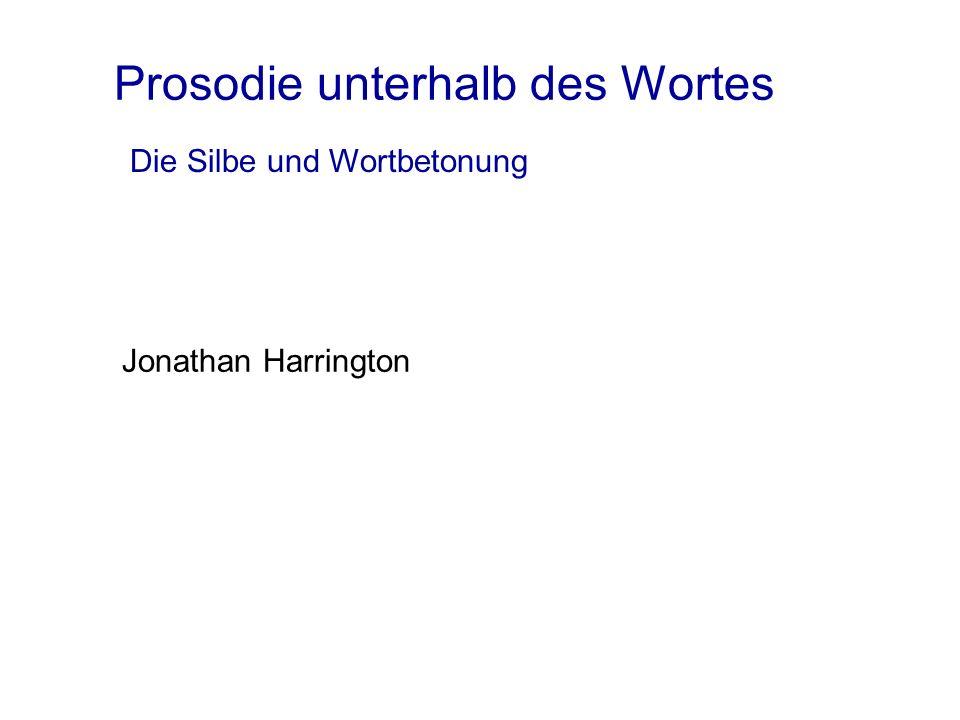 Prosodie unterhalb des Wortes Jonathan Harrington Die Silbe und Wortbetonung