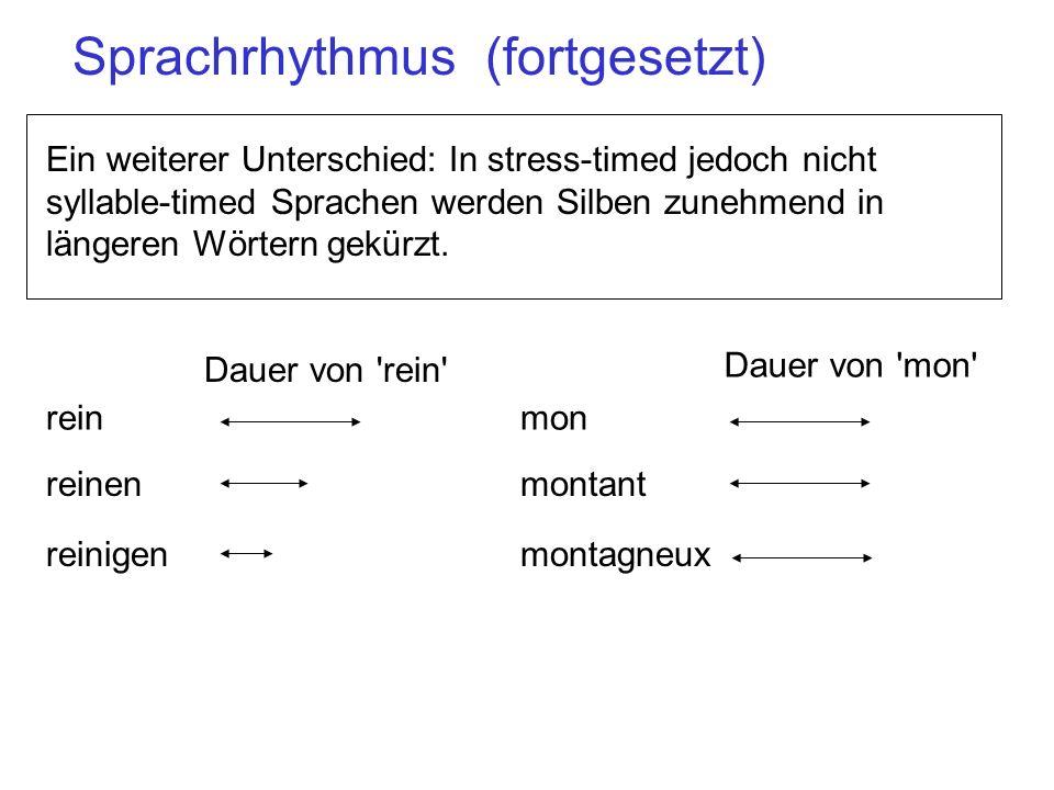 Ein weiterer Unterschied: In stress-timed jedoch nicht syllable-timed Sprachen werden Silben zunehmend in längeren Wörtern gekürzt. rein reinigen rein