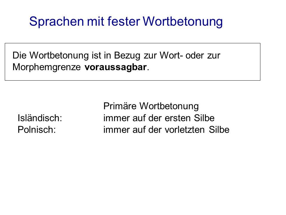 Sprachen mit beweglicher Betonung Die primär betonte Silbe ist veränderlich in Bezug zur Wort- oder Morphemgrenze (zB Deutsch).