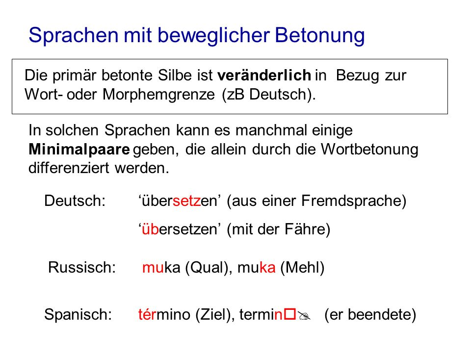 Sprachen mit beweglicher Betonung Die primär betonte Silbe ist veränderlich in Bezug zur Wort- oder Morphemgrenze (zB Deutsch). In solchen Sprachen ka