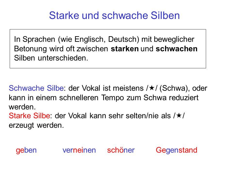 Starke/schwache Silben und Reduzierungen In der gesprochenen Sprache werden schwache Silben mit einer größeren Wahrscheinlichkeit im Vergleich zu starken Silben getilgt/reduziert.