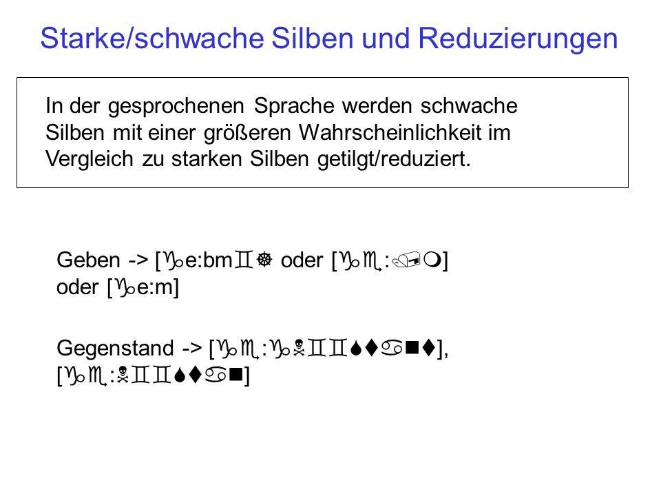 Starke, schwache, unreduzierte Silben Mehrsilbige Wörter in Deutsch und Englisch enthalten: Eine Silbe mit primärer Wortbetonung (schwache Silben können nie primär-betont sein).