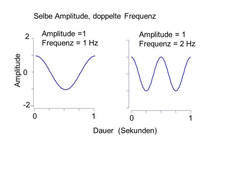 Selbe Amplitude, doppelte Frequenz 0 -2 2 01 01 Dauer (Sekunden) Amplitude Amplitude =1 Frequenz = 1 Hz Amplitude = 1 Frequenz = 2 Hz