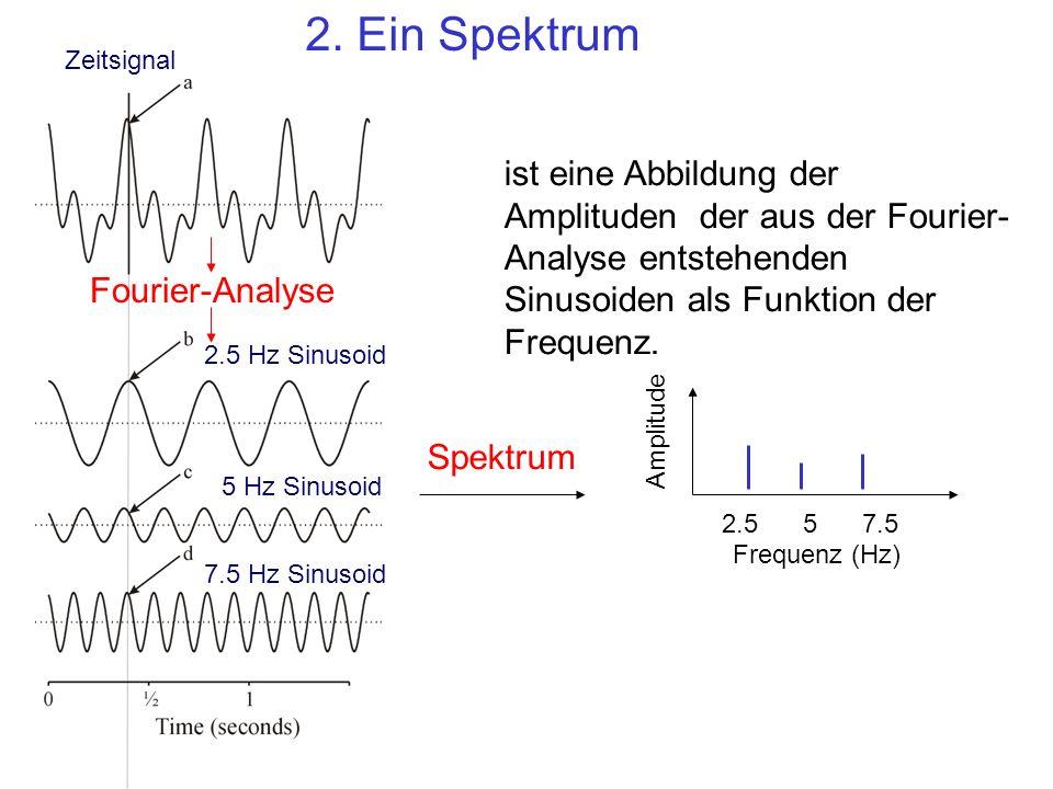 2.557.5 Frequenz (Hz) Amplitude ist eine Abbildung der Amplituden der aus der Fourier- Analyse entstehenden Sinusoiden als Funktion der Frequenz. Zeit