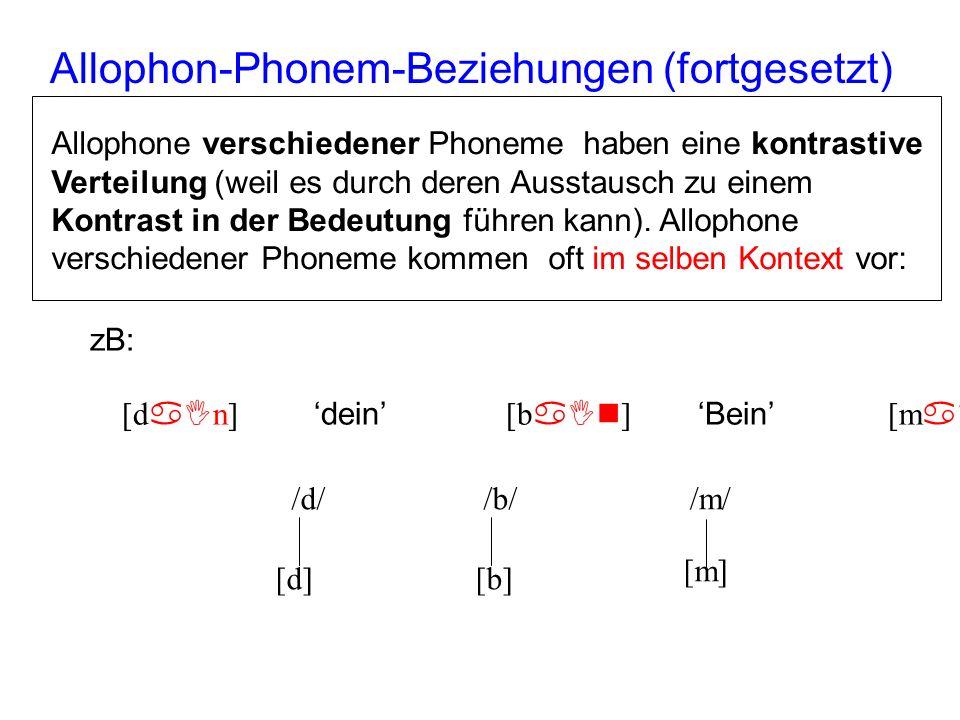Allophone vom selben Phonem haben meistens eine komplementäre Verteilung – dies bedeutet, sie werden meistens in unterschiedlichen Kontexten gefunden*