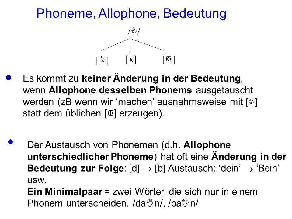 Allophone verschiedener Phoneme haben eine kontrastive Verteilung (weil es durch deren Ausstausch zu einem Kontrast in der Bedeutung führen kann). All