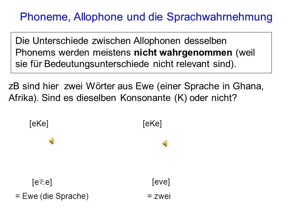 Phoneme, Allophone, Bedeutung /C//C/ [C][C] [x] [X][X] Es kommt zu keiner Änderung in der Bedeutung, wenn Allophone desselben Phonems ausgetauscht wer