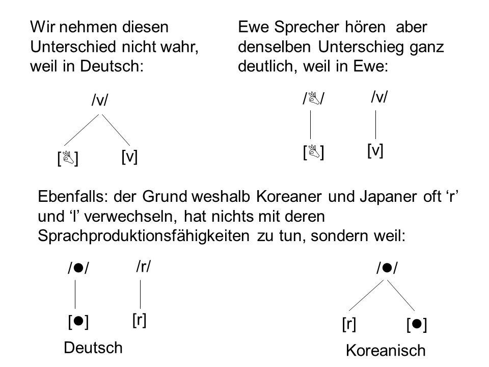 Phoneme, Allophone und die Sprachwahrnehmung Die Unterschiede zwischen Allophonen desselben Phonems werden meistens nicht wahrgenommen (weil sie für B