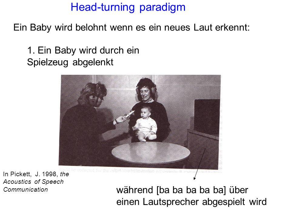 Phoneme und Spracherwerb Die Forschung in den letzten paar Jahren zeigt 1 : 1. z.B. Kuhl et al, (1997). Cross-language analysis of phonetic units in l