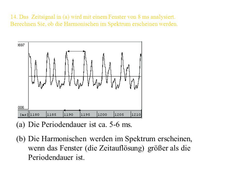 13. Wir möchten eine Breitbandanalyse durchführen, um die Formanten in Spektrogrammen deutlich sehen zu können. Inwiefern muss sich generell die Zeita
