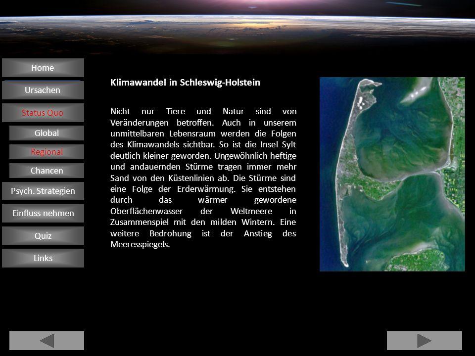 Klimawandel in Schleswig-Holstein Nicht nur Tiere und Natur sind von Veränderungen betroffen. Auch in unserem unmittelbaren Lebensraum werden die Folg