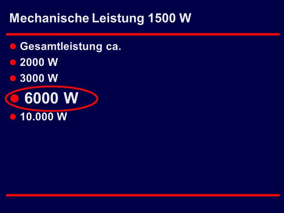 Mechanische Leistung 1500 W l Gesamtleistung ca. l 2000 W l 3000 W l 6000 W l 10.000 W