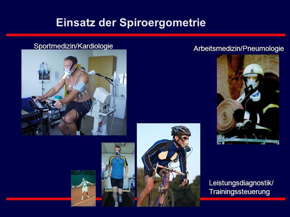 Einsatz der Spiroergometrie Sportmedizin/Kardiologie Leistungsdiagnostik/ Trainingssteuerung Arbeitsmedizin/Pneumologie