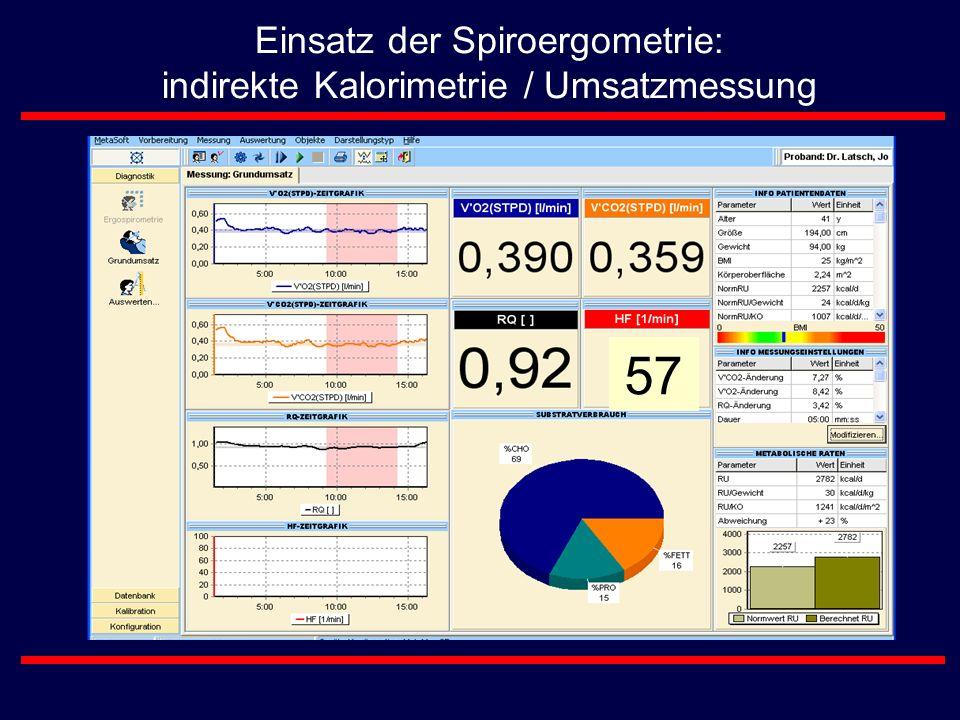 Einsatz der Spiroergometrie: indirekte Kalorimetrie / Umsatzmessung 57
