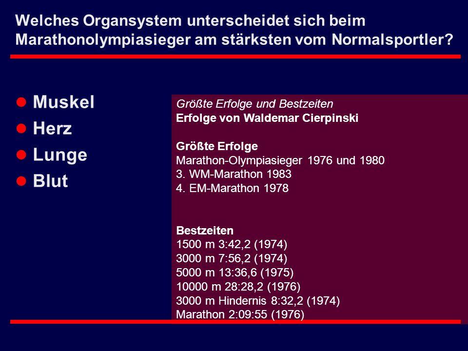 Welches Organsystem unterscheidet sich beim Marathonolympiasieger am stärksten vom Normalsportler? l Muskel l Herz l Lunge l Blut Größte Erfolge und B