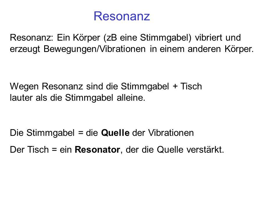 Resonanz Resonanz: Ein Körper (zB eine Stimmgabel) vibriert und erzeugt Bewegungen/Vibrationen in einem anderen Körper. Wegen Resonanz sind die Stimmg