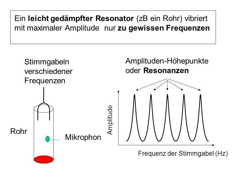 Ein leicht gedämpfter Resonator (zB ein Rohr) vibriert mit maximaler Amplitude nur zu gewissen Frequenzen Frequenz der Stimmgabel (Hz) Amplitude Ampli