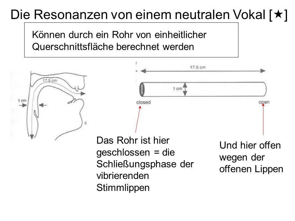 Die Resonanzen von einem neutralen Vokal [«] Können durch ein Rohr von einheitlicher Querschnittsfläche berechnet werden Das Rohr ist hier geschlossen