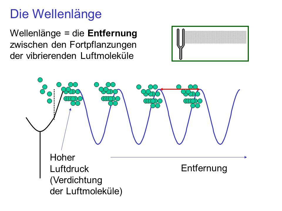 Hoher Luftdruck (Verdichtung der Luftmoleküle) Entfernung Wellenlänge = die Entfernung zwischen den Fortpflanzungen der vibrierenden Luftmoleküle Die