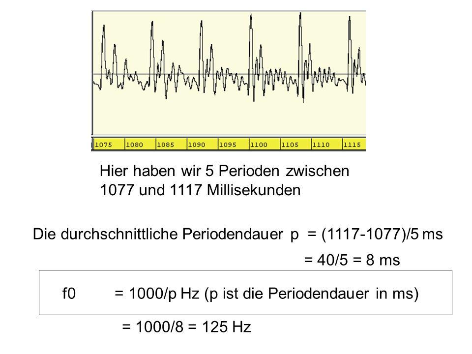 Hier haben wir 5 Perioden zwischen 1077 und 1117 Millisekunden Die durchschnittliche Periodendauer p = (1117-1077)/5 ms = 40/5 = 8 ms = 1000/8 = 125 H