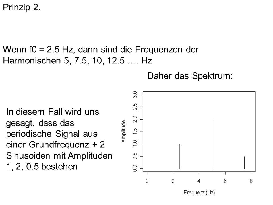 Prinzip 2. Wenn f0 = 2.5 Hz, dann sind die Frequenzen der Harmonischen 5, 7.5, 10, 12.5 …. Hz In diesem Fall wird uns gesagt, dass das periodische Sig