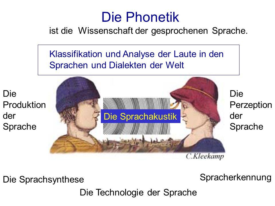Phonetische Klassifikation Die Klassifikation der möglichen wahrnehmbaren Sprachlaute, die von den Vokalorganen erzeugt werden können.