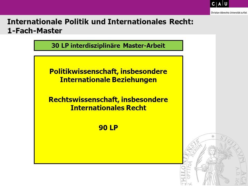 30 LP interdisziplinäre Master-Arbeit Politikwissenschaft, insbesondere Internationale Beziehungen Rechtswissenschaft, insbesondere Internationales Re