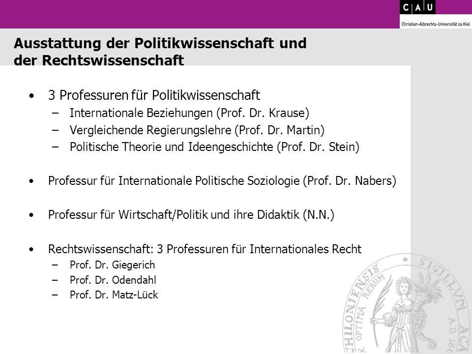 Ausstattung der Politikwissenschaft und der Rechtswissenschaft 3 Professuren für Politikwissenschaft –Internationale Beziehungen (Prof. Dr. Krause) –V