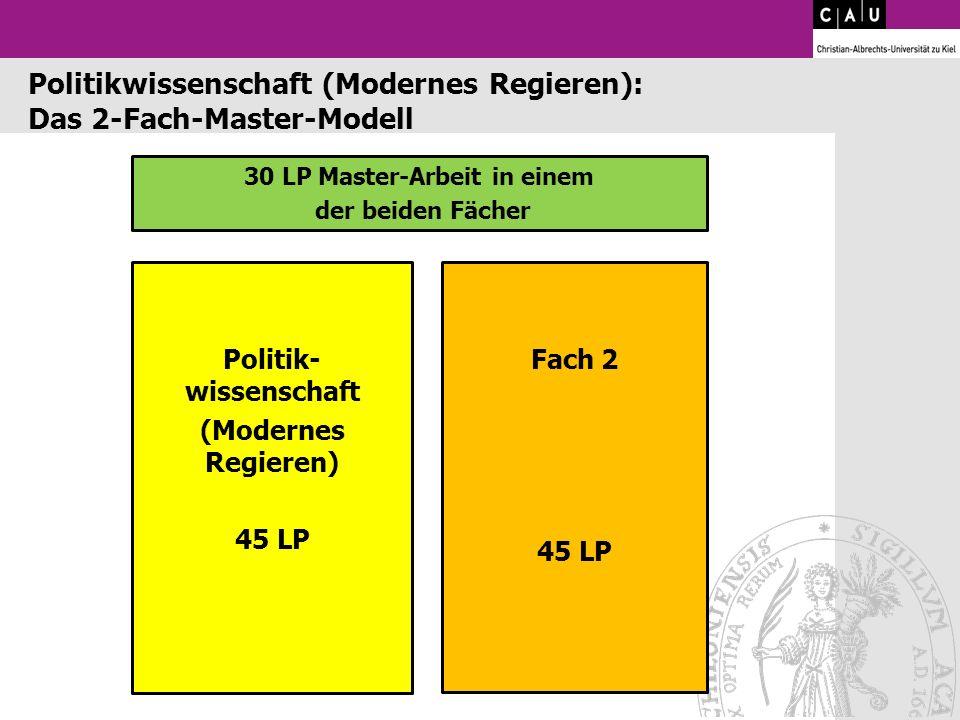 30 LP Master-Arbeit in einem der beiden Fächer Politik- wissenschaft (Modernes Regieren) 45 LP Fach 2 45 LP Politikwissenschaft (Modernes Regieren): D