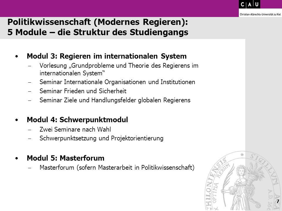 Modul 3: Regieren im internationalen System Vorlesung Grundprobleme und Theorie des Regierens im internationalen System Seminar Internationale Organis
