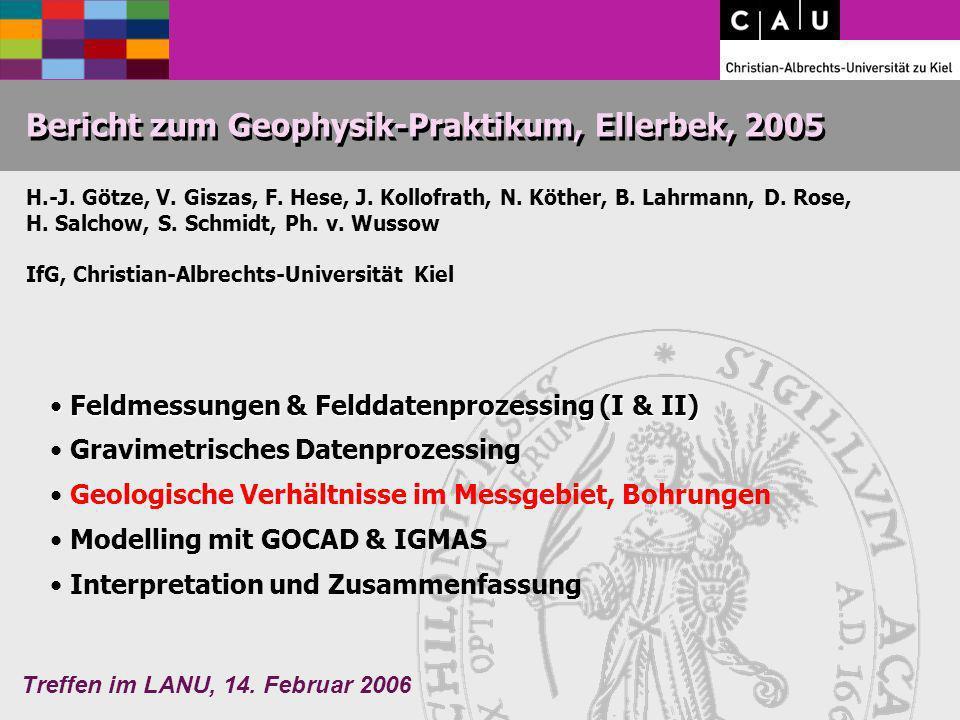 Treffen im LANU, 14. Februar 2006 Bericht zum Geophysik-Praktikum, Ellerbek, 2005 H.-J. Götze, V. Giszas, F. Hese, J. Kollofrath, N. Köther, B. Lahrma