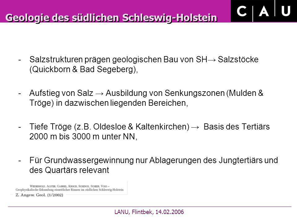 Geologie des südlichen Schleswig-Holstein -Salzstrukturen prägen geologischen Bau von SH Salzstöcke (Quickborn & Bad Segeberg), -Aufstieg von Salz Aus