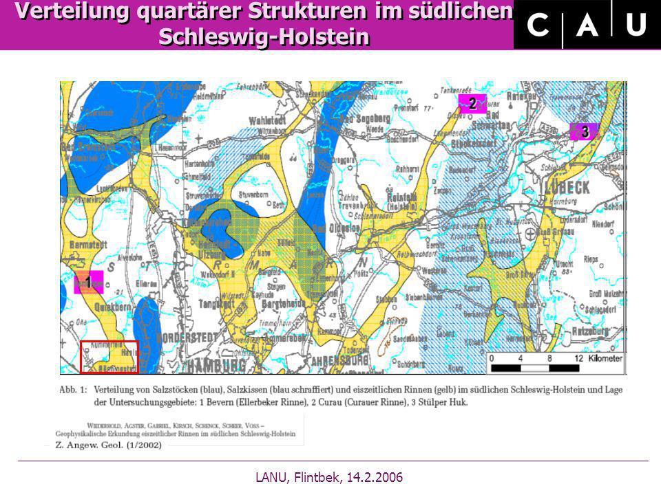 Tiefe der geologischen Rinne LANU, Flintbek, 14.02.2006 300 200 400 100 300 200 100 50 300 200 100 50 LANU des Landes Schleswig Holstein