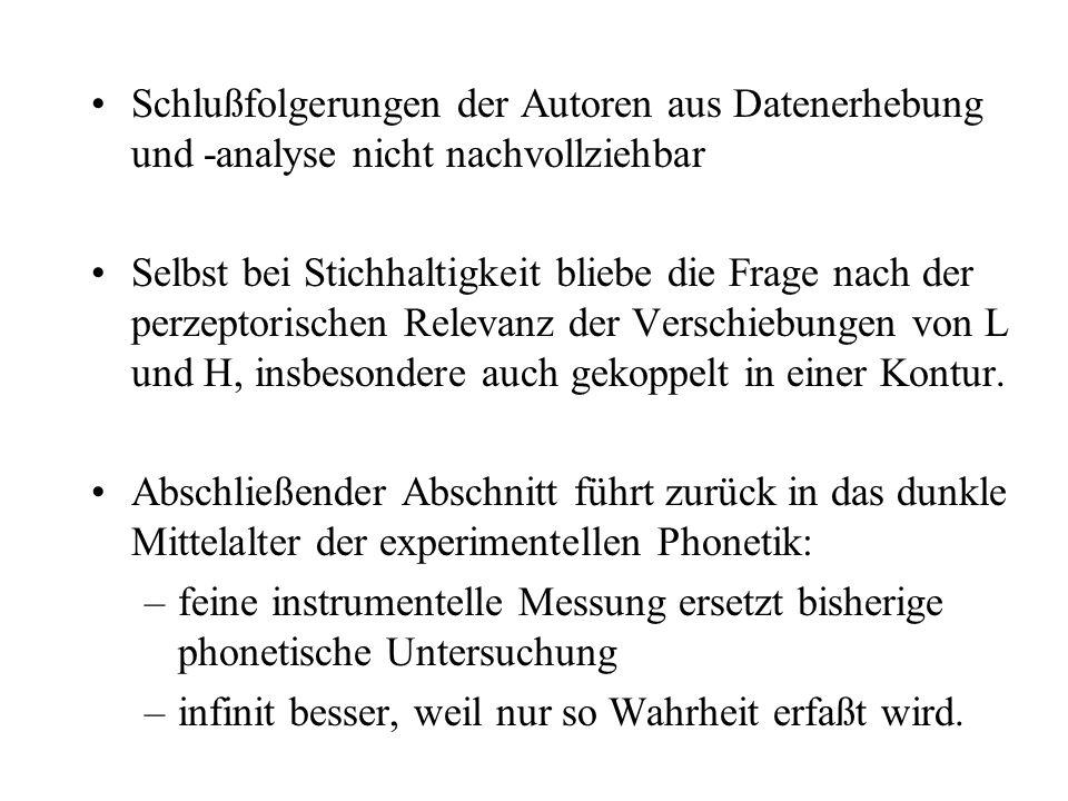 Umfeld phonologischer Oppositionen in verglichenen Sprachen nicht berücksichtigt –Wieviele verschiedene LH-Synchronisierungen? –mindestens 2- 3 in bei
