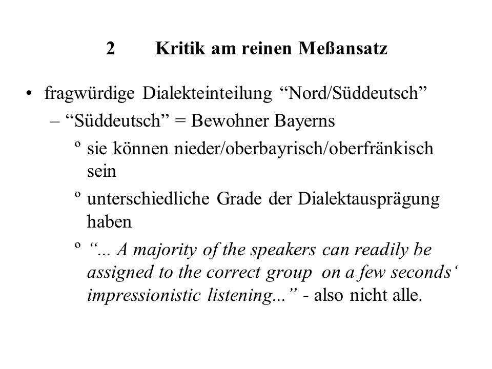 2Kritik am reinen Meßansatz fragwürdige Dialekteinteilung Nord/Süddeutsch –Süddeutsch = Bewohner Bayerns ºsie können nieder/oberbayrisch/oberfränkisch sein ºunterschiedliche Grade der Dialektausprägung haben º...