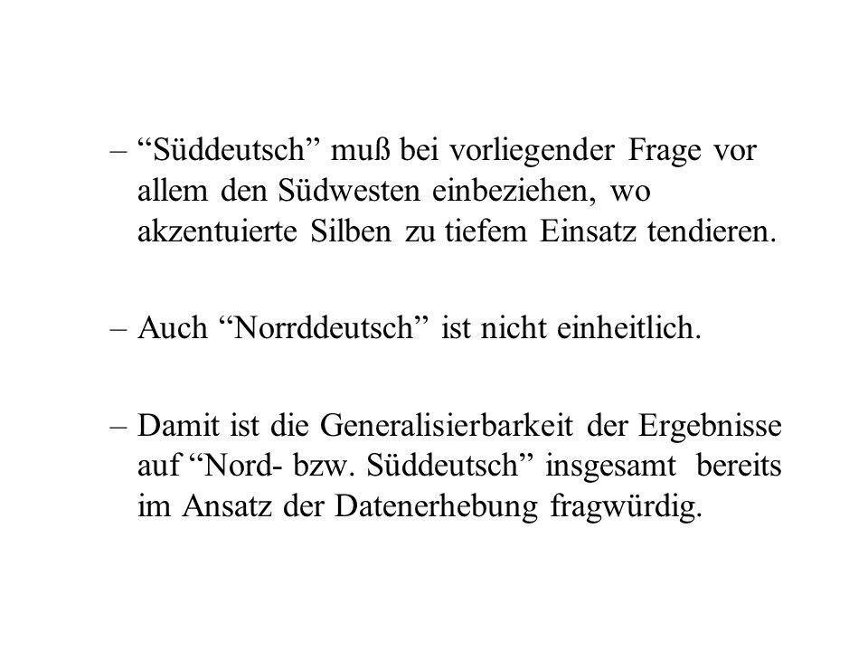 2Kritik am reinen Meßansatz fragwürdige Dialekteinteilung Nord/Süddeutsch –Süddeutsch = Bewohner Bayerns ºsie können nieder/oberbayrisch/oberfränkisch
