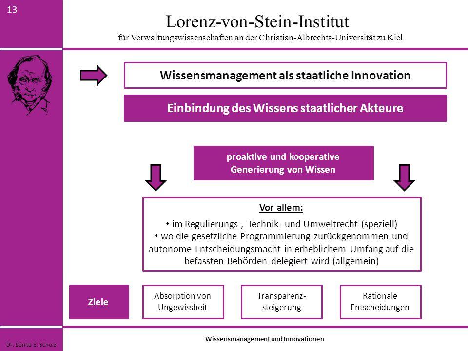 Lorenz-von-Stein-Institut für Verwaltungswissenschaften an der Christian-Albrechts-Universität zu Kiel 13 Wissensmanagement als staatliche Innovation