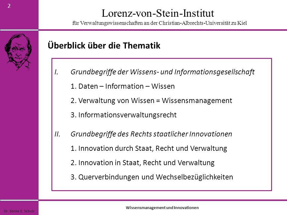 Lorenz-von-Stein-Institut für Verwaltungswissenschaften an der Christian-Albrechts-Universität zu Kiel 2 Überblick über die Thematik Wissensmanagement