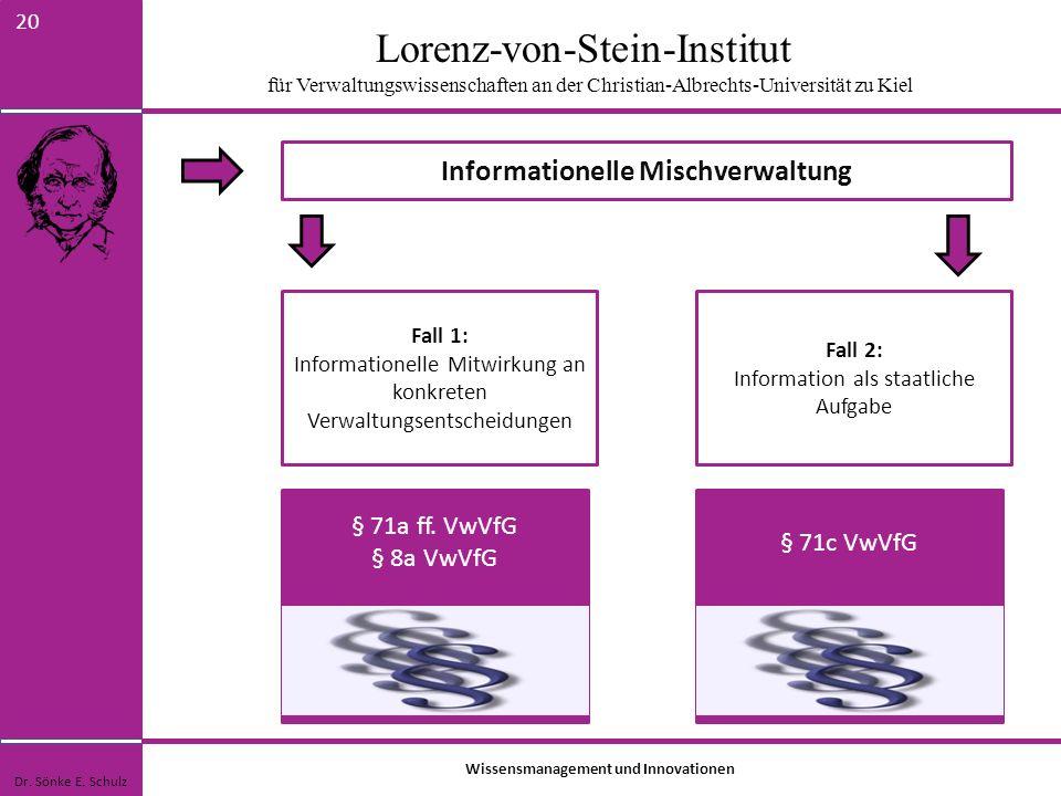 Lorenz-von-Stein-Institut für Verwaltungswissenschaften an der Christian-Albrechts-Universität zu Kiel 20 Informationelle Mischverwaltung Dr. Sönke E.