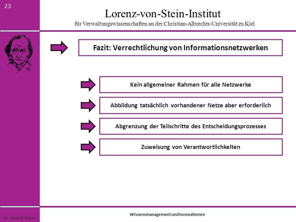 Lorenz-von-Stein-Institut für Verwaltungswissenschaften an der Christian-Albrechts-Universität zu Kiel 23 Fazit: Verrechtlichung von Informationsnetzw