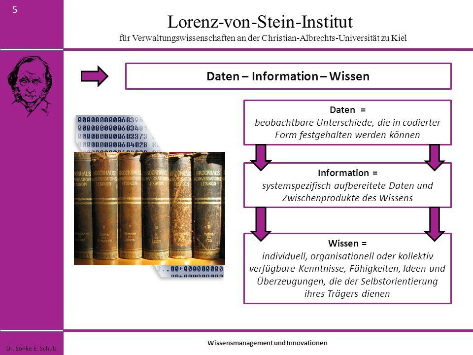Lorenz-von-Stein-Institut für Verwaltungswissenschaften an der Christian-Albrechts-Universität zu Kiel 16 Wissensmanagement und gesellschaftliche Innovation Dr.