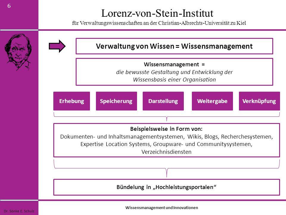 Lorenz-von-Stein-Institut für Verwaltungswissenschaften an der Christian-Albrechts-Universität zu Kiel 6 Wissensmanagement = die bewusste Gestaltung u