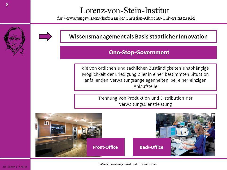 Lorenz-von-Stein-Institut für Verwaltungswissenschaften an der Christian-Albrechts-Universität zu Kiel 9 Wissensmanagement als Basis staatlicher Innovation Dr.
