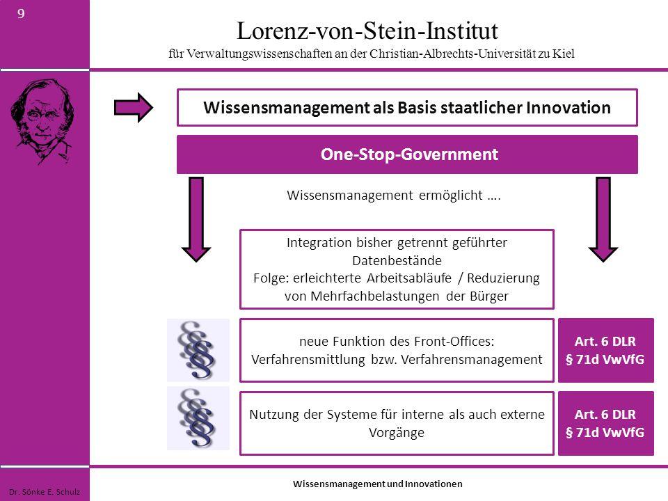 Lorenz-von-Stein-Institut für Verwaltungswissenschaften an der Christian-Albrechts-Universität zu Kiel 9 Wissensmanagement als Basis staatlicher Innov