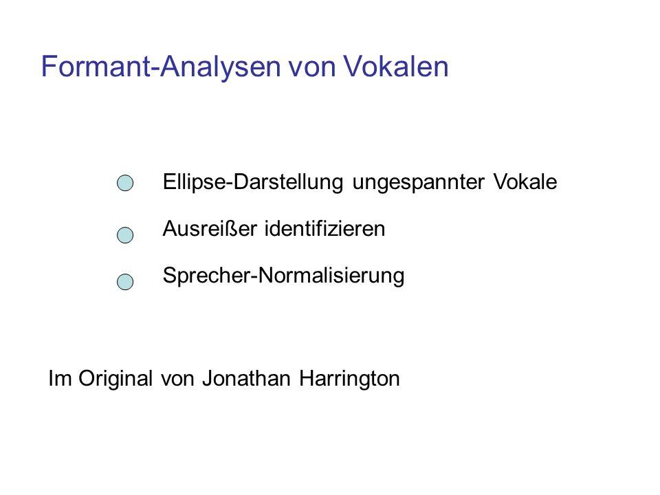Formant-Analysen von Vokalen Ellipse-Darstellung ungespannter Vokale Ausreißer identifizieren Sprecher-Normalisierung Im Original von Jonathan Harring