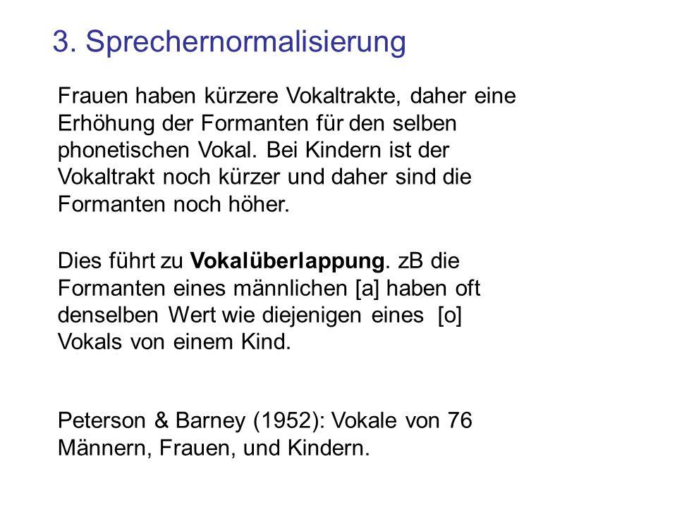 3. Sprechernormalisierung Dies führt zu Vokalüberlappung. zB die Formanten eines männlichen [a] haben oft denselben Wert wie diejenigen eines [o] Voka