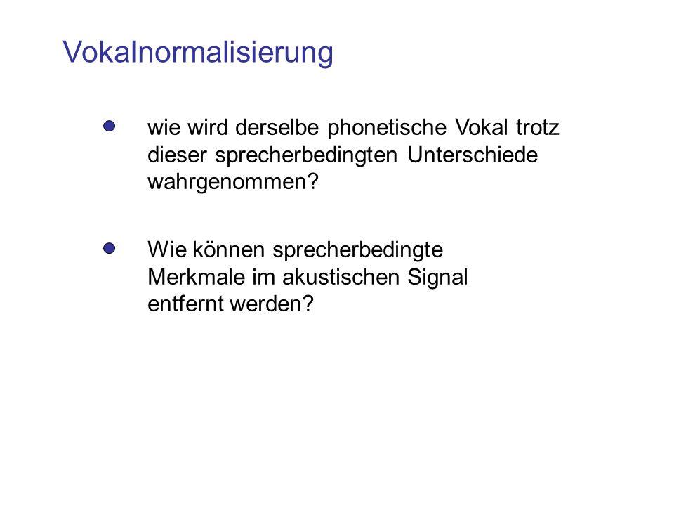 Vokalnormalisierung wie wird derselbe phonetische Vokal trotz dieser sprecherbedingten Unterschiede wahrgenommen? Wie können sprecherbedingte Merkmale